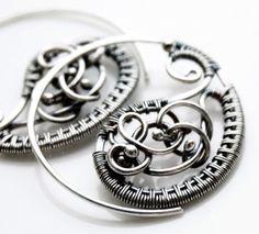 Henna - Wire wrapped earrings - Henna earrings - Silver earrings