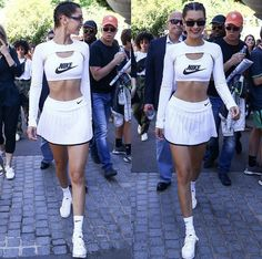 Tennis Outfits, Tennis Clothes, Casual Outfits, Look Athleisure, White Tennis Skirt, Bella Hadid Style, Sporty Chic, Nike, Ideias Fashion