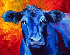 Blue Cow II Painting by Marion Rose - Blue Cow II Fine Art Prints and Posters for Sale