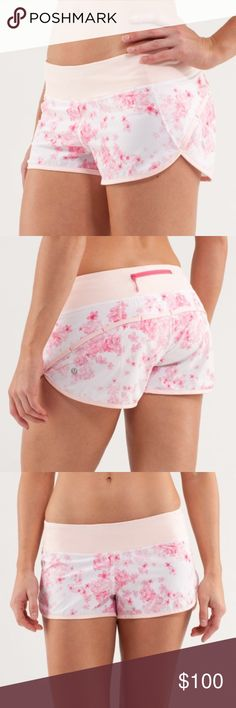 Lululemon speed short in Frangipani Lululemon speed short in the coveted parfait pink frangipani print. In perfect condition other than the tiniest prick in waistband, but doesn't compromise integrity (and would be covered by any shirt). Released in April 2013, these gorgeous shorts are extremely difficult to find in good condition. lululemon athletica Shorts