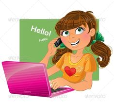 Brown-Haired Girl with Phone and Pink Laptop