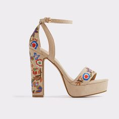 Laumea by ALDO. Exude free-spirit style in these stunning '70s-inspired platform sandals, blooming with a colourful flower bouquet. A...