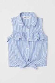 Sleeveless Tie-front Blouse - Light blue white striped - Kids H M US 1 Dresses Kids Girl, Kids Outfits, Casual Outfits, Cute Outfits, Fashion Outfits, Casual Dresses, Frock Design, Tie Front Blouse, Outfit Trends