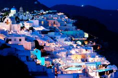 Santorini, Greece at night.