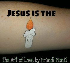"""Jesus is the Light, Christian face painting design by """"The Art of Love"""" by Brandi Menfi. If you have time, a candle holder can be added for more detail."""