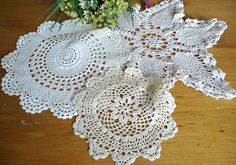 3 Doilies Doily Crocheted Doily Ecru Vintage Doilies  D23 by TreasureCoveAlly on Etsy