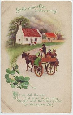 Unused Vintage St.Patrick's Day Postcard - Pony Cart and Cottage from suzanstreasures on Ruby Lane