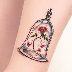 Beauty and The Beast | Disney Tattoo | Rose and Jar