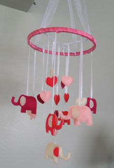 PInk Felt Elephant Baby Mobile -- I just love elephants!