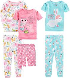 Amazon.com: Simple Joys by Carter's Baby Girls 6-Piece Snug Fit Cotton Pajama Set, Bunny/Animals Green, 6-9 Months: Clothing Baby Girl Pajamas, Carters Baby Girl, Kids Outfits Girls, Girl Outfits, Summer Outfits, 6 Pack, Cotton Pyjamas, Kind Mode, Snug Fit