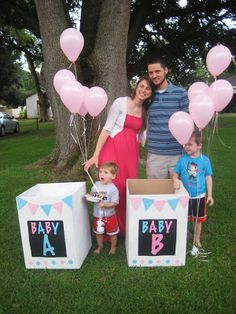 We love a good party {twin gender reveal} Twin Gender Reveal, Gender Reveal Photos, Gender Reveal Balloons, Baby Shower Gender Reveal, Baby Gender, Twins Announcement, Gender Announcements, Newborn Twin Photography, Diaper Parties