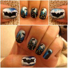 Batman nail art. Maybe my next nail design!