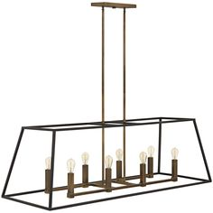 Illuminate your contemporary kitchen or bar with this industrial bronze island pendant light featuring a chic and clean caged design. wide x deep x high. Canopy is 9 wide x 4 deep. Style # at Lamps Plus. Lantern Chandelier, Rectangle Chandelier, Bronze Chandelier, Linear Chandelier, Chandelier Lighting, Kitchen Island Lighting, Dining Room Lighting, Kitchen Islands, Federal