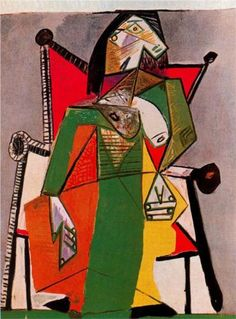 Woman sitting in an armchair, 1941 by Pablo Picasso, Neoclassicist & Surrealist Period. Picasso Portraits, Picasso Paintings, Picasso Images, Picasso Cubism, Picasso Drawing, Cubist Movement, Spanish Painters, Georges Braque, Henri Matisse