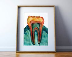 Abstract Maxillary Incisor Teeth Watercolor Print by LyonRoad