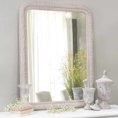 Miroir en bois beige H 121 cm AGLAE