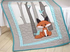 Fox Blanket, Fox Nursery Quilt, Baby Boy Quilt, Boy Crib Bedding, Forest Blanket, Cutom Made  I always liked the nurseries, what inspired by the mother nature, full of charm of the forest. Last week I had a lovely walk and I had a new idea in my head. Here it is; A sly foxy with birch on the background and tiny blue birdies sitting on the branches. This is my version, but please dont hesitate to create your own vision. Theres so many ways to make a nice baby quilt or nursery set.  On the…