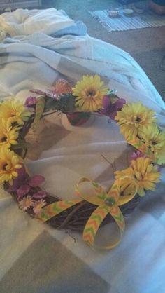 Yellow flower & butterfly wreath