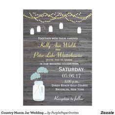 Country Mason Jar Wedding Wood Grain Invitations