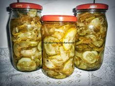 "Moje domowe  kucharzenie: Sałatka ""gyros"" z cukini i ogórków A Food, Food And Drink, Canning Recipes, Preserves, Pickles, Cucumber, Mason Jars, Favorite Recipes, Salads"