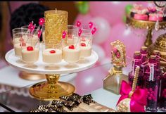 Desserts at a sparkle birthday party! See more party planning ideas at CatchMyParty.com!