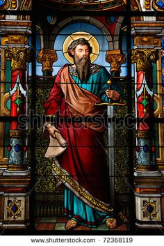 Saint Paul the Apostle. Stained glass window in the German Church in Gamla Stan, Stockholm. Stained Glass Church, Stained Glass Windows, Wine Bottle Wall, Wine Bottles, Paul The Apostle, Church Windows, Glass Wall Art, Catholic Saints, Religious Art