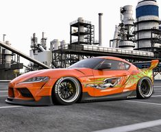 A rendering of the new Toyota Supra in the style of the famous orange Supra from the Fast & Furious movie. Toyota Supra Mk4, Tuner Cars, Jdm Cars, Street Racing Cars, Mercedes Car, Import Cars, Japan Cars, Car Ford, Ford Trucks
