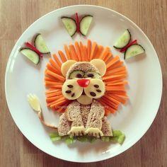 Danny the Lion – Rosie & Ruby love … Food Art For Kids, Fun Snacks For Kids, Food Kids, Cute Food, Good Food, Yummy Food, Toddler Meals, Kids Meals, Creative Food Art