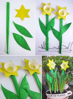 Springtime Crafts Paper Plate Cupcake Daffodils: A simple 5 minute craft to brighten up everyone's day – all you need are some paper plates, mini cupcake liners, buttons and some paint. For the stems we just rolled up sheets of paper, stapled them close Spring Theme, Spring Art, Spring Crafts, Kids Crafts, Easter Crafts, Arts And Crafts, Dinosaur Crafts Kids, Daffodil Craft, Daffodil Day