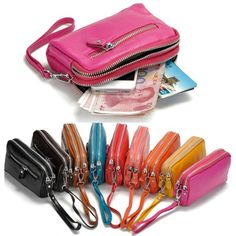 Sale 15% (11.65$) - Women Men Genuine Leather Double Zipper Wallet Clutches Card Holder Phone Bags Coin Bags