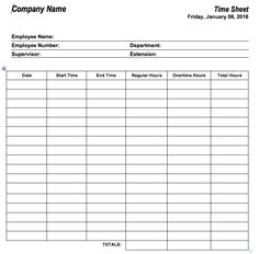 employee time sheets free