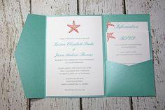 Teal Pocketfold Wedding Invitations - Beach Wedding Invitation- Shimmer…