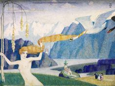 "Meredith Frampton  ""Nude with Flying Swans"" 1919"