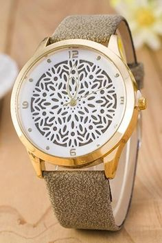 Floral Design Vintage Fashion Dress Lady Girl PU Leather Gray Band Woman Watch