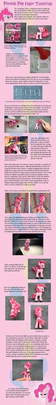 Pinkie Pie Hair Tutorial by ~countschlick on deviantART . I really want to get into custom ponies now. Mlp My Little Pony, My Little Pony Friendship, Mlp Hairstyles, Barbie, Little Poney, Nerd Love, Pinkie Pie, Fluttershy, Rainbow Dash