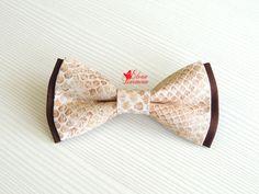 Купить Бабочка галстук со змеиным принтом, хлопок - бежевый, звериная расцветка, змея
