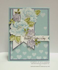 Stampin' Up With Sabrina: More Stippled Blossoms - Mother's Day Card  More photos & Details - http://sabradcreations.blogspot.ca/2015/04/more-stippled-blossoms-mothers-day-card.html