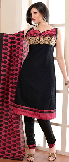 Natasha Couture Black and Pink Cotton Printed Salwar Kameez - StyleHoster Pakistani Dresses, Indian Dresses, Indian Outfits, Indian Clothes, Churidar, Salwar Kameez, Kurti, India Fashion, Fashion Wear