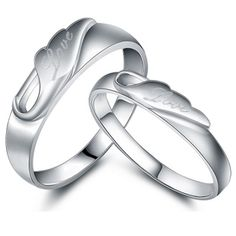 Personalized engraved sterling silver matching couple rings - $38