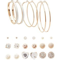 Charlotte Russe Hoop & Stud Earrings Set ($6) ❤ liked on Polyvore featuring jewelry, earrings, gold, set jewelry, gold earrings, stud earrings, yellow gold jewelry and gold hoop earrings