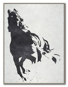Black White Horse Hand Made Extra Large Canvas por CelineZiangArt Black And White Wall Art, Black And White Painting, Black And White Abstract, Horse Canvas Painting, Horse Paintings, Art Prints For Home, Elephant Art, Easy Paintings, Horse Art