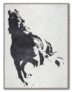 Black White Horse Hand Made Extra Large Canvas by CelineZiangArt