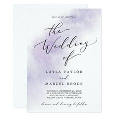 Watercolor Wash Purple All In One Wedding Invite with a simple splash of pastel lavender purple water color with elegant and classic style. Click to customize with your personalized details today.