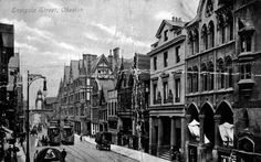 Eastgate Street, Chester, with electric trams in  1910. The trams were electrified in 1903 but they were replaced by buses in 1930.