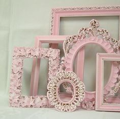 Pink flower and pearls altered frames