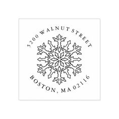 Mandala Snowflake | Return Address Rubber Stamp - return address gifts label labels cards diy cyo