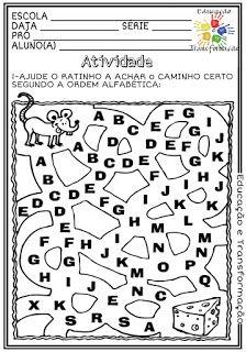 Atividades Escolares: Ordem alfabética English Phonics, Word Search, Diagram, Math Equations, Words, Alice, Kids Learning Activities, Literacy Activities, Classroom