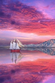 AMAZING PERFECT NATURE SHOT !! #sunset red pink purple boat sea sky mountain seascape -- by Peter From
