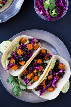 Chipotle Sweet Potato Tacos with Avocado Cream (vegan + gluten-free)