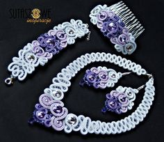 White, lilac and purple necklace, earrings, bracelet and hair comb
